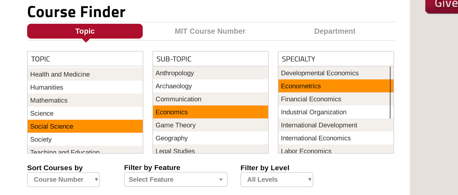 MIT OCW course finder